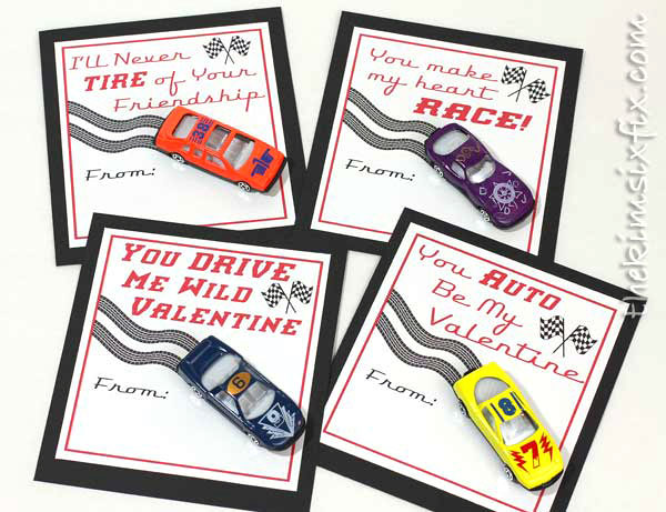 35 Easy No-Candy Valentines with Free Printables by Category - Curated by Press Print Party! matchbox car valentine printable for boys classmates