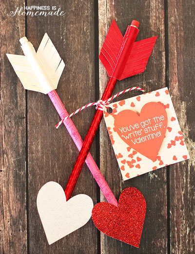 35 Easy No-Candy Valentines with Free Printables by Category - Curated by Press Print Party! - pencil arrows valentines for classmates