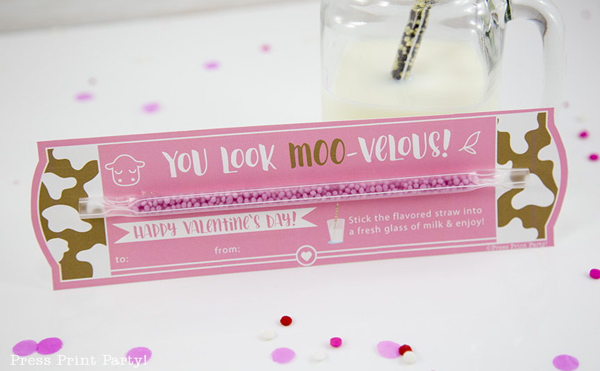 Free Printable Valentine Cards, Milk Straw - School Valentine Ideas - By Press Print Party!