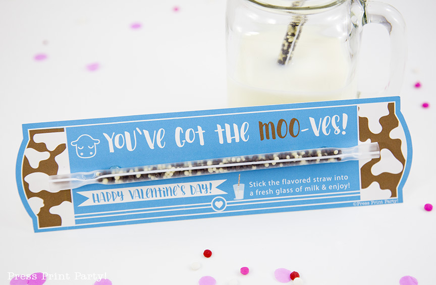 Free Printable Valentine Cards, Milk Straw - School Valentine Ideas - By Press Print Party!