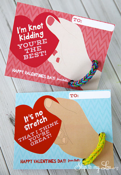 35 Easy No-Candy Valentines with Free Printables by Category - Curated by Press Print Party! homemade craft rubber band bracelets cards for valentine handouts at school- rainbow loom