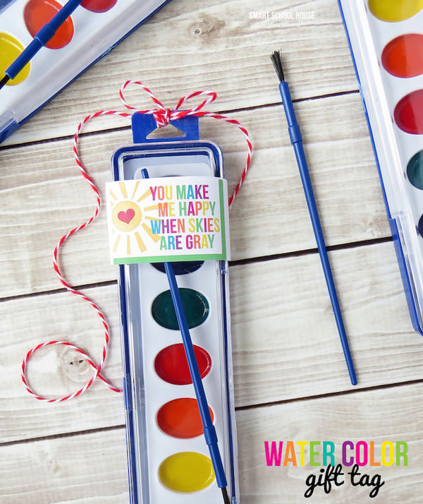 35 Easy No-Candy Valentines with Free Printables by Category - Curated by Press Print Party! watercolor valentines printables wrap for classmates or teacher
