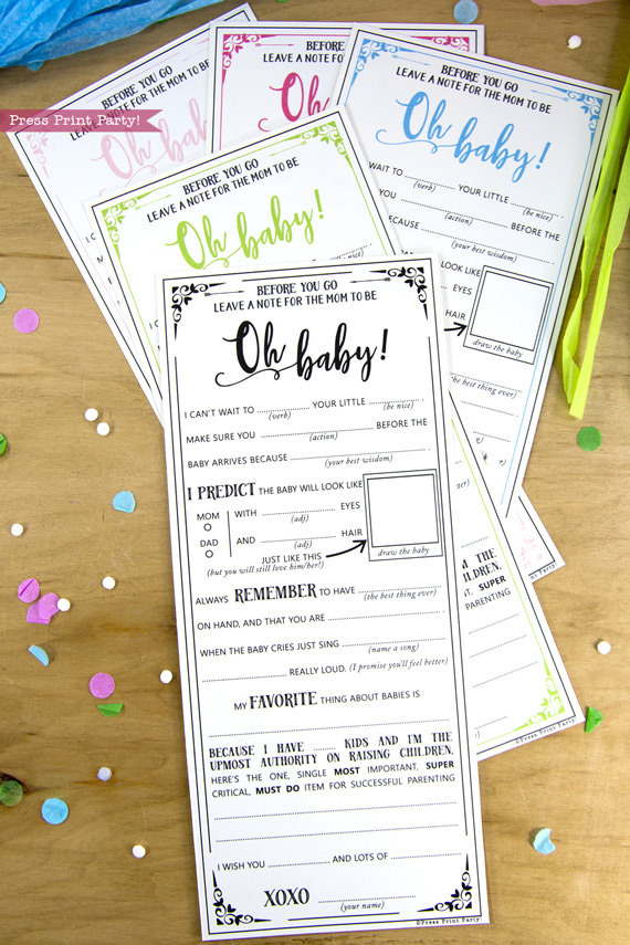 Hilarious Baby Shower mad-libs advice cards and virtual baby shower - baby shower games- by Press Print Party!