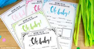 Hilarious baby shower mad-libs advice cards and virtual baby shower - by Press Print Party! in 5 colors