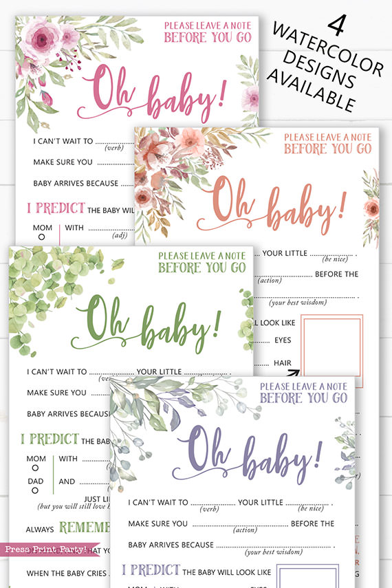 baby shower mad libs game in 4 watercolor designs hilarious game fun for all - pink flowers, peach florals, eucalyptus, purple flowers - Press Print Party
