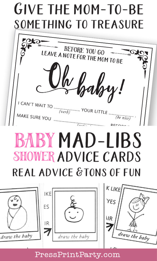 baby shower mad libs advice cards real advice and tons of fun. Hilarious Baby shower game printable- give the mom to be something to treasure. Press Print Party!