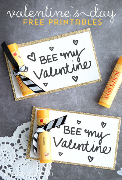 35 Easy No-Candy Valentines with Free Printables by Category - Curated by Press Print Party! - bee my valentine lip balm burts bees