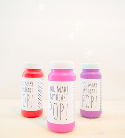 35 Easy No-Candy Valentines with Free Printables by Category - Curated by Press Print Party! bubbles you make my heart pop printable for bottles