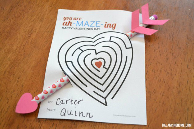 35 Easy No-Candy Valentines with Free Printables by Category - Curated by Press Print Party! - pencil maze printable for classroom valentine