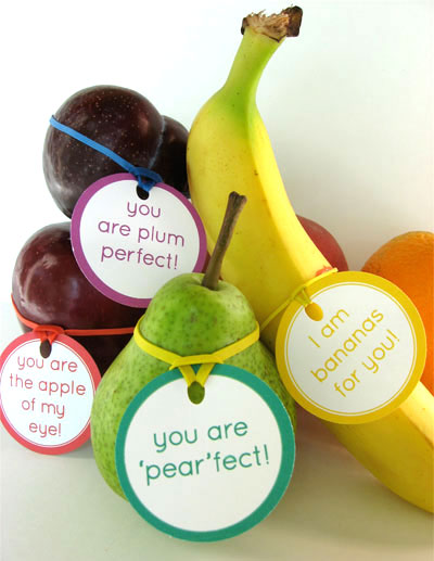 35 Easy No-Candy Valentines with Free Printables by Category - Curated by Press Print Party! fruit labels for valentines healthy treat