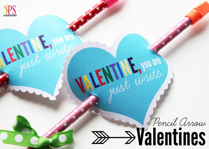 Non Candy Valentines with Free Printables by Category - Curated by Press Print Party! - pencils with heart printable