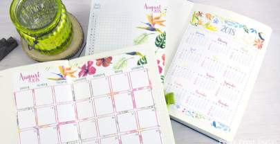 2018 Calendar Set for Bullet Journals – Watercolor design