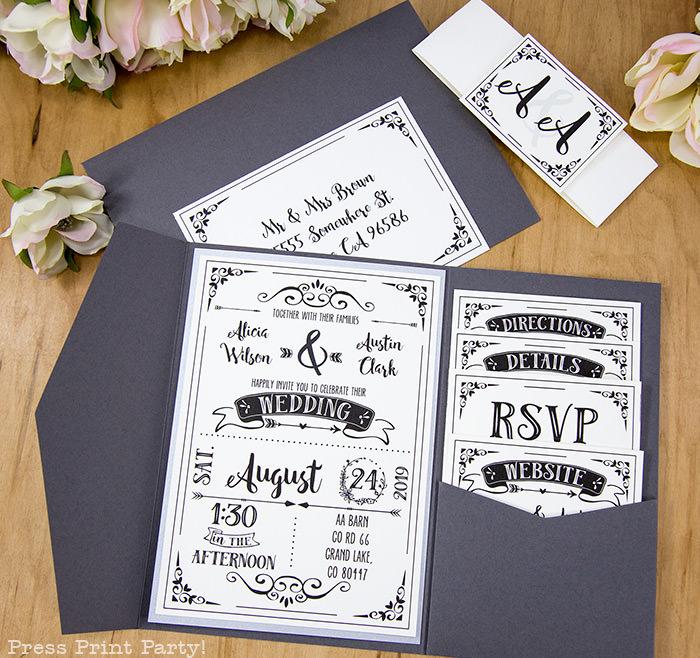Rustic Diy Wedding Invitations: Rustic Wedding Invitation Template (DIY)