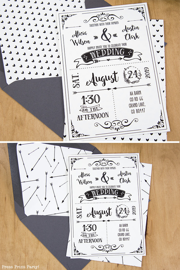 Rustic Wedding Invitation Template DIY Press Print Party - Diy rustic wedding invitations templates