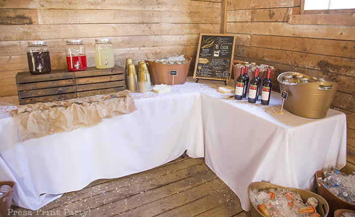 A breathtaking rustic barn wedding - country wedding - Press Print Party! Drinks table