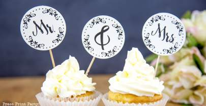Free Mr. & Mrs. Wedding Cupcake Toppers