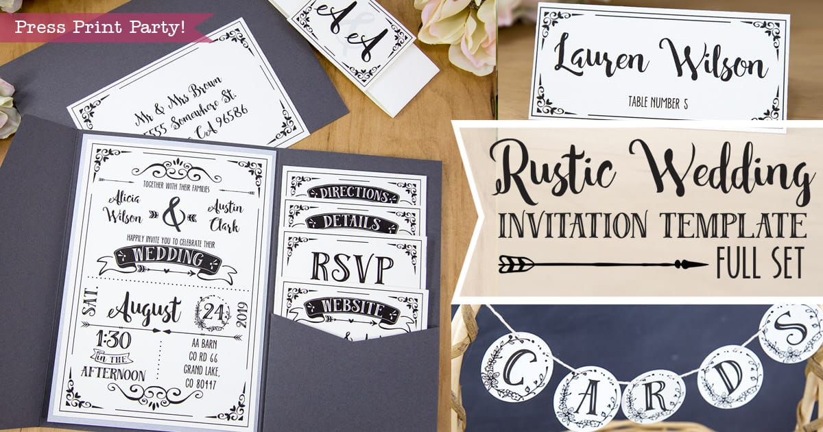 rustic wedding invitation template diy press print party. Black Bedroom Furniture Sets. Home Design Ideas