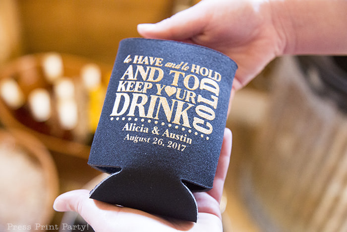 A breathtaking rustic barn wedding - country wedding - Press Print Party! wedding koozie