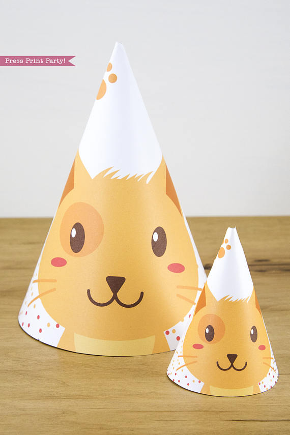 Cat Party Hat Printable Boy Tabby