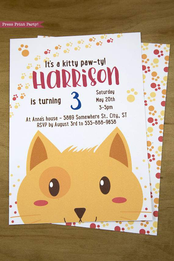 Cat Party Invitation Printable, Boy Tabby - Press Print Party