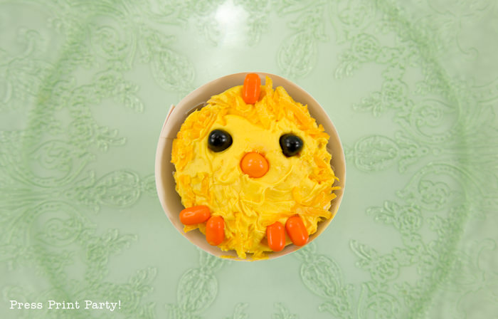 Cute LIttle Chicks Easter Cupcakes Easy DIY - By Press Print Party!