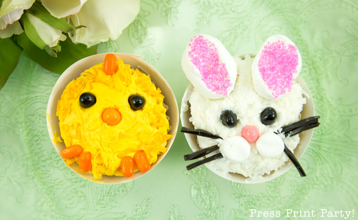 DIY Easter Bunny and chicksCupcake decoration ideas - Press Print Party!