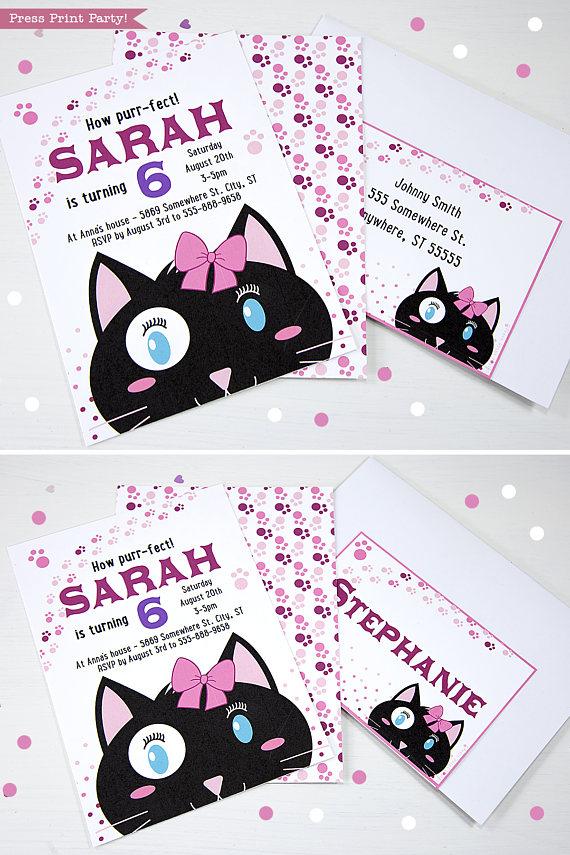 cat themed party invitations girl black  white  press