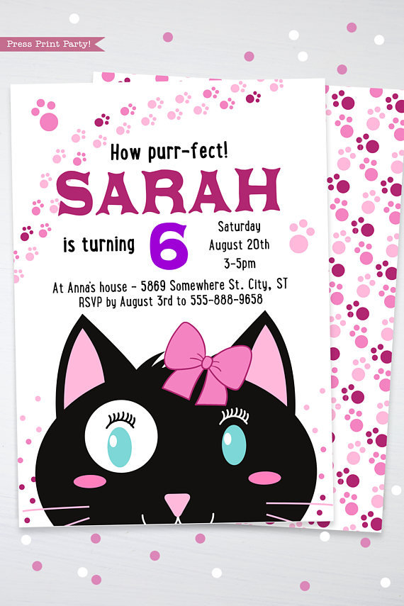 cat party birthday invitation  girl black  u0026 white