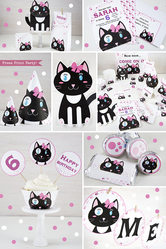graphic about Black and White Printable identified as Cat Themed Birthday Celebration Printable Preset, Woman Black White