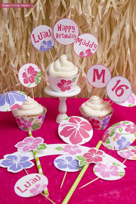 Luau Theme Cupcakes Toppers Wrappers Printable