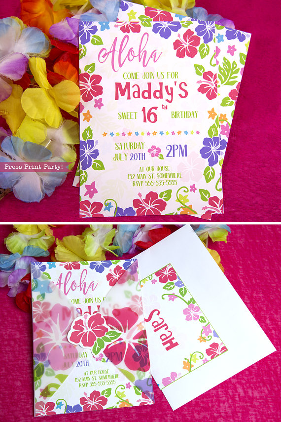 luau invitation printable press print party