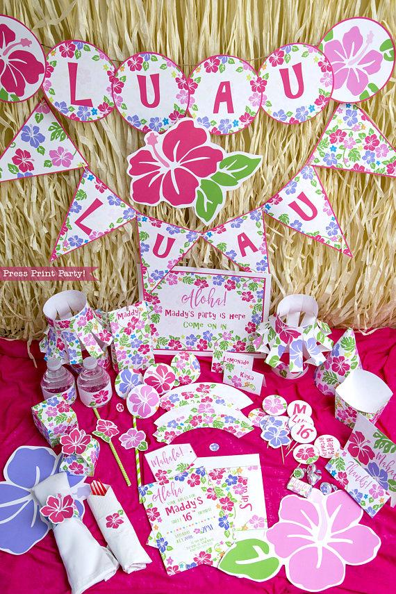 ultimate luau party decorations set  printable