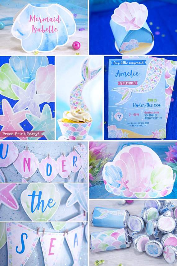 photo regarding Printable Party named Mermaid Birthday Get together Printable Fixed, Watercolor