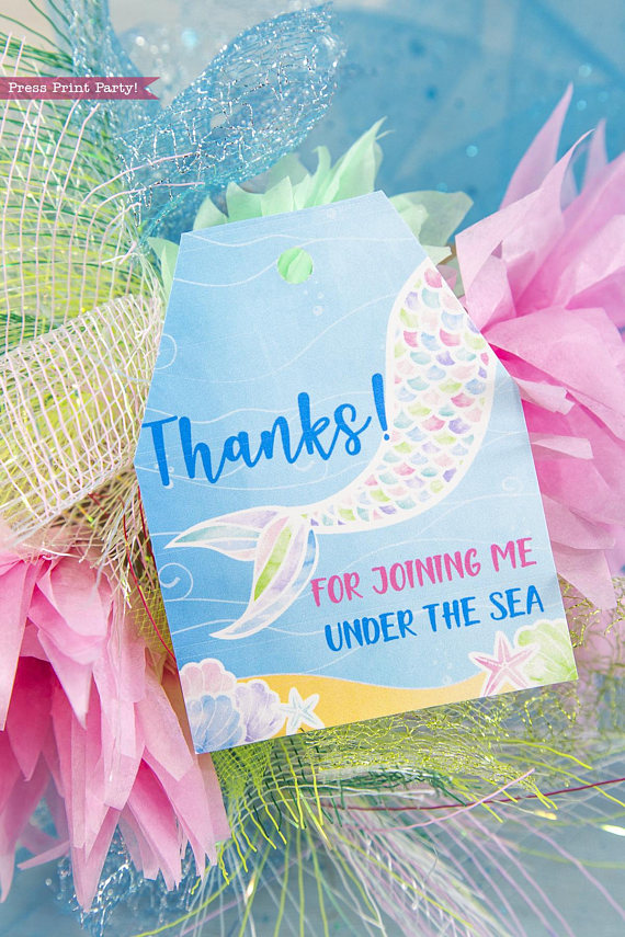 Mermaid Party Favor Tags Watercolor Press Print Party