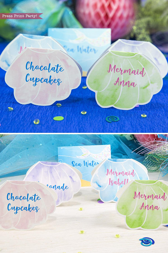 Mermaid Birthday Place Cards Watercolor