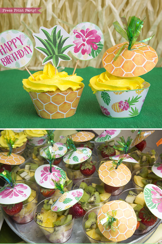 pineapple cupcake toppers  u0026 wrappers