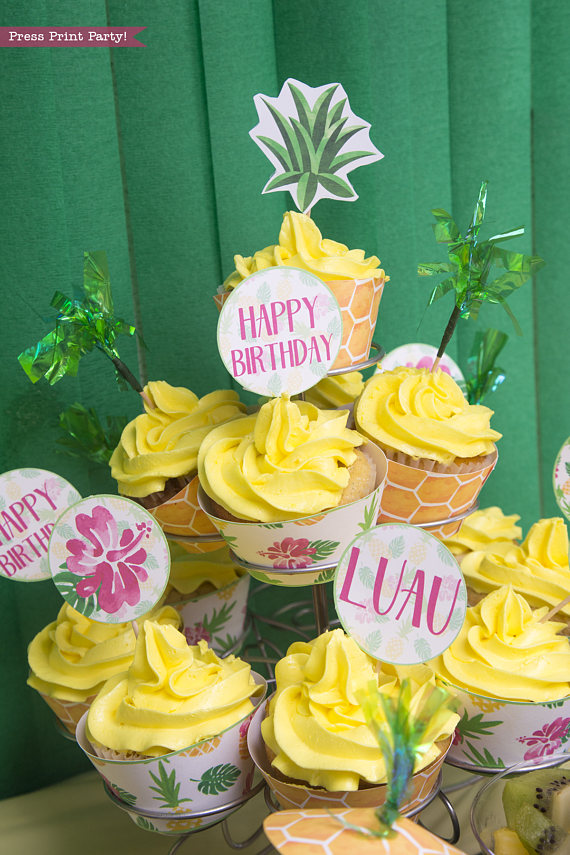 Pineapple Cupcake Toppers Amp Wrappers Press Print Party