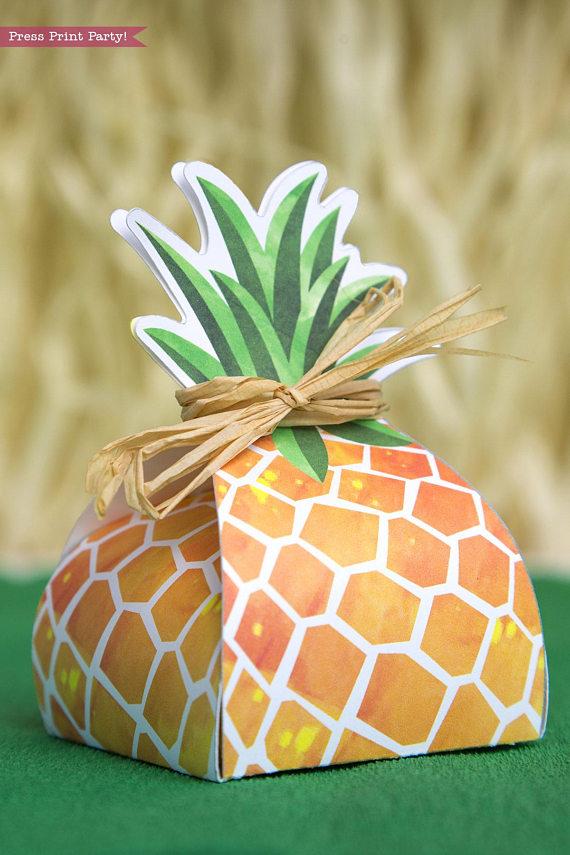 Pineapple Favor Box Printable Luau Press Print Party