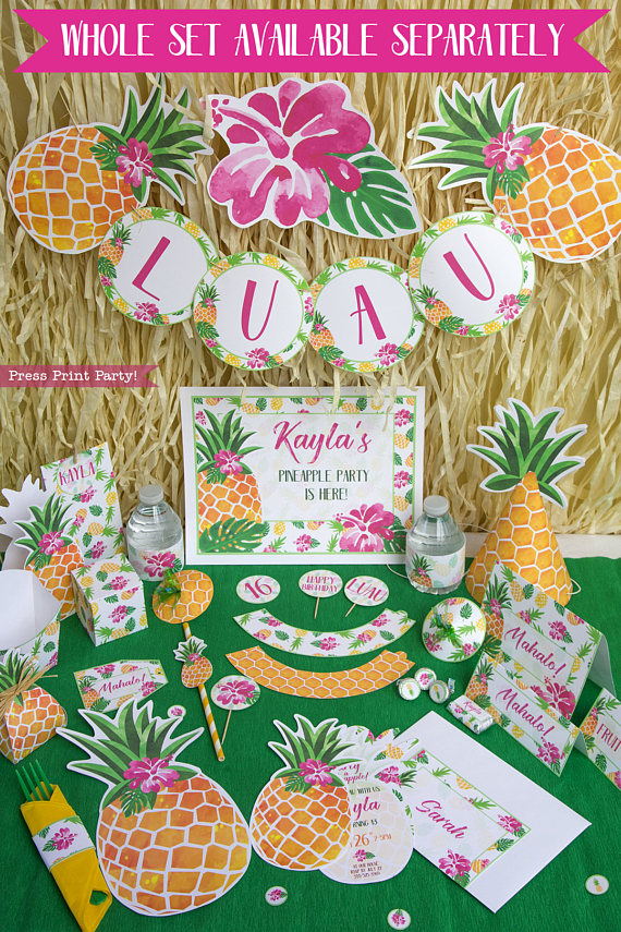 photograph relating to Printable Party identify Pineapple Want Box Printable