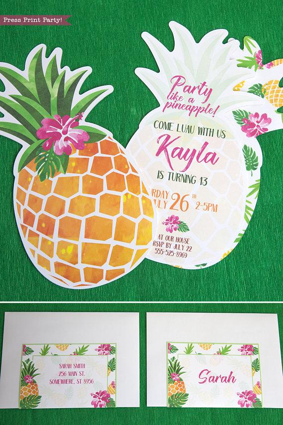 pineapple party invitation printable luau press print party