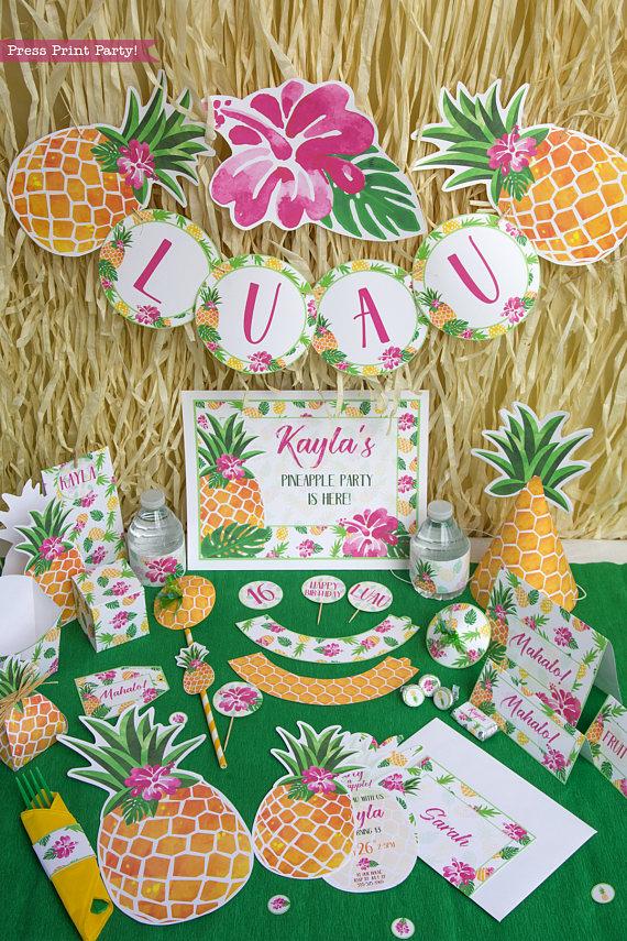 Pineapple Party Decorations Printable Set Luau Press Print Party