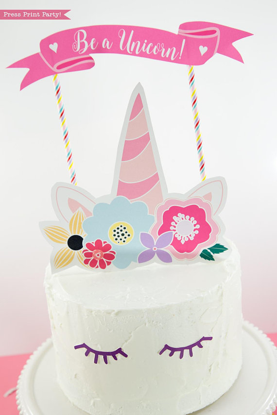 unicorn cake topper printable with flowers unicorn party press print party. Black Bedroom Furniture Sets. Home Design Ideas