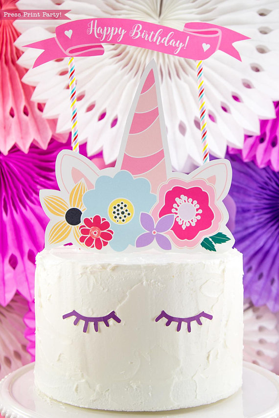 Unicorn Cake Topper Printable Press Print Party