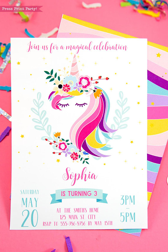 Lucrative image for printable unicorn invitations