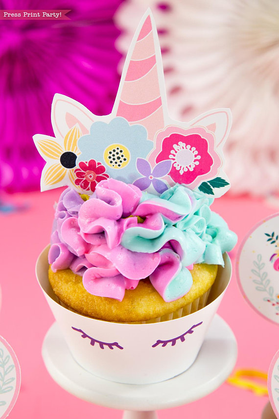 image about Unicorn Cupcake Toppers Printable referred to as Unicorn Cupcake Toppers Wrappers