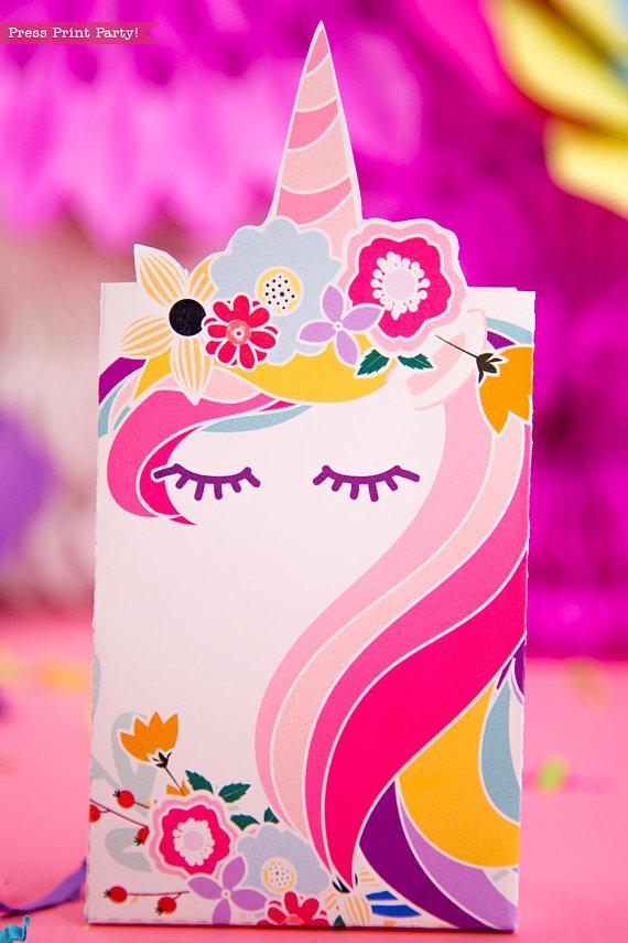 Unicorn Party Favor Box Printable