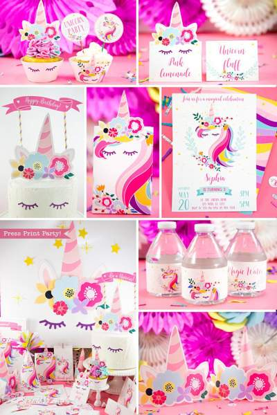 Unicorn Party Birthday Printable Set - Press Print Party 9d91a187b298