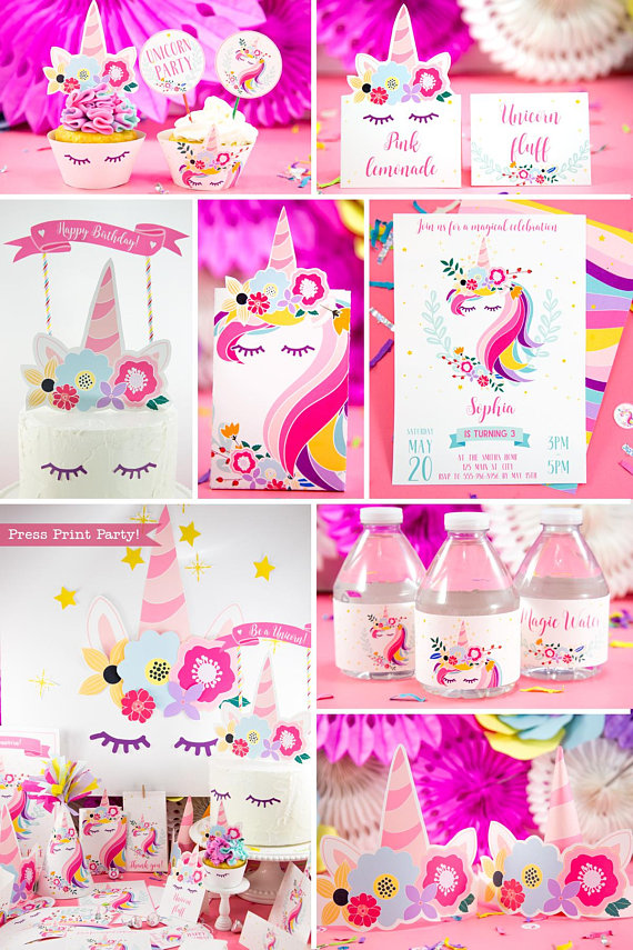 Unicorn Party Birthday Printable Set