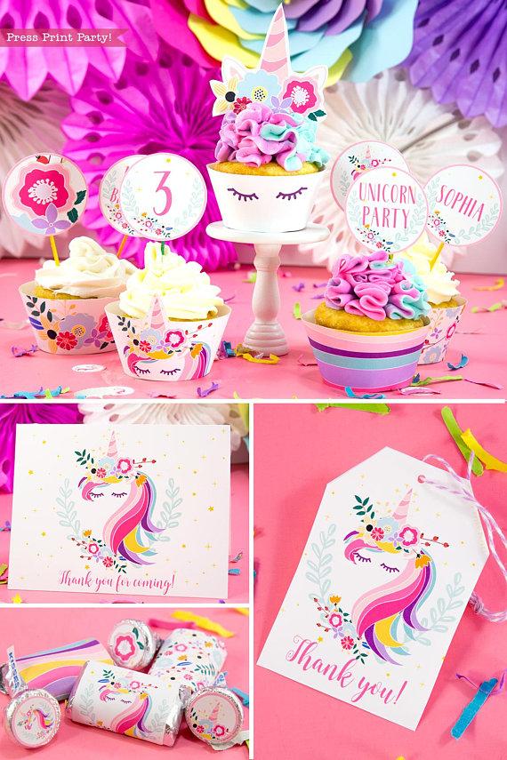 Unicorn Party Birthday Printable Set Press Print Party