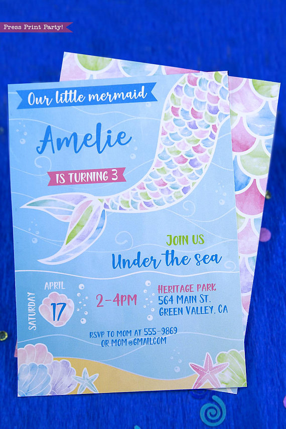 mermaid birthday invitation watercolor press print party